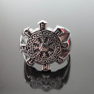 Viking 925 Sterling Silver Ring Helm of Awe Aegishjalmur Elder Futhark VALKNUT Amulet Talisman Sacred Symbol