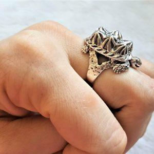 Turtle Sterling Silver 925 Ring Sea Turtle Ocean Animal Good Luck Gift Totem Animal Talisman Amulet