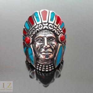 American Indian Ring 925 Sterling Silver Navajo Tribal Chief biker rocker