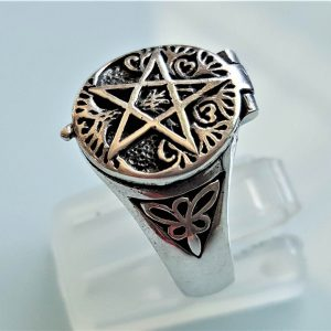 Penatcle 925 Sterling Silver Ring Locket Pentagram Star Sacred Symbols Talisman Protective Amulet Occult Secret Compartment