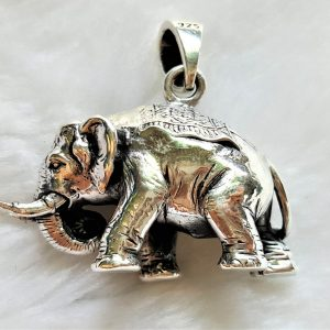 Elephant STERLING SILVER 925 Pendant Africa Good Luck Solid Silver Exclusive Design Gift