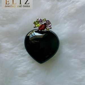 Black Onyx Heart Sterling Silver 925 Pendant & Garnet Peridot Amethyst Natural Gemstones Talisman Love Amulet