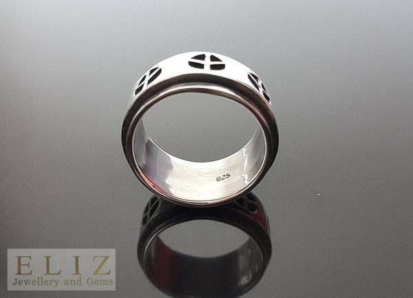 Spinner 925 Sterling Silver Ring Peace Anti Stress Meditation Fidget Spinner Ring