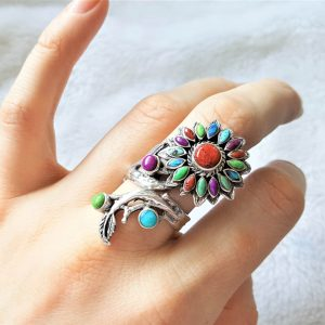 Sunflower 925 Sterling Silver Ring Flower Natural Opal Turquoise Coral Green Mohave SunFlower Size Adjustable