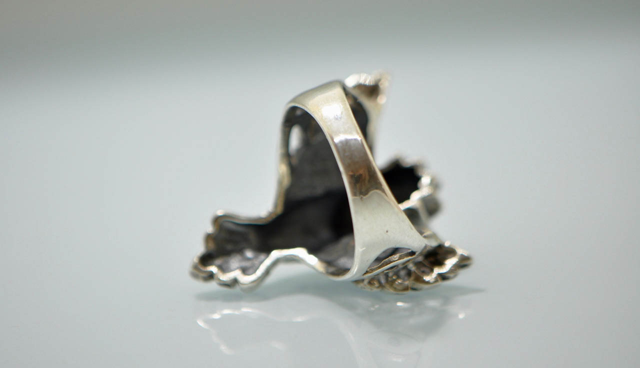 Eliz Natural Turquoise,Mother of Pearl .925 Sterling Silver Wise Owl Ring