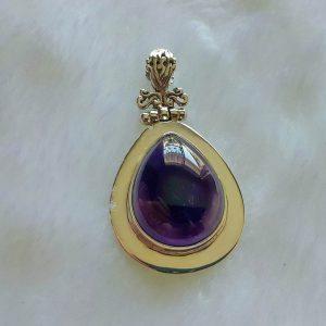 AMETHYST Pendant 925 Sterling Silver Genuine Gemstone CABOSHON Handmade Pear Shape Natural Gemstone Talisman Amulet 12.7 grams