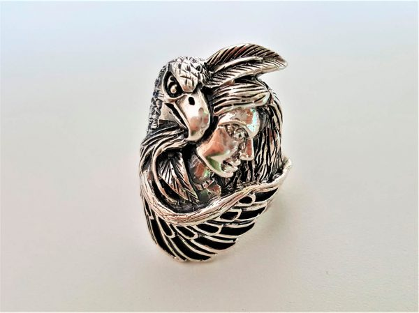 American Indian Ring Sterling Silver 925 Ring Eagle Protector Women American Indian Talisman Amulet Feather Free Spirit Handmade