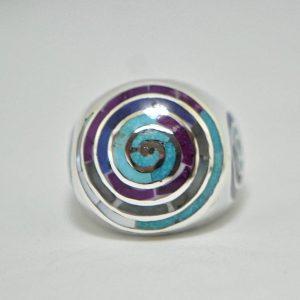 Kundalini Ring 925 Sterling Silver Natural Lapis Amethyst Turquoise Labradorite Mother of Pearl Kundalini Swirl