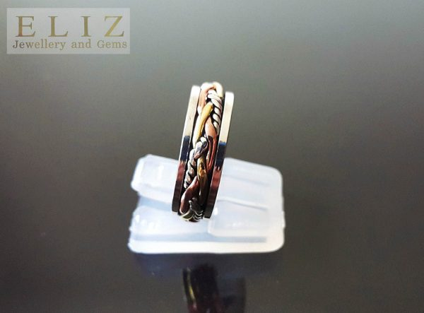 Spinner Ring 925 STERLING SILVER with mild Copper and Brass Accents Meditation Anti stress