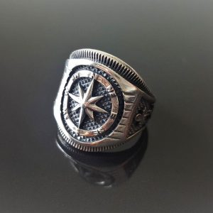 Compass Ring 925 STERLING SILVER Nautical Sun Dial Compass Wheel & Anchor North/South East/West Moon Punk Goth Biker Rocker