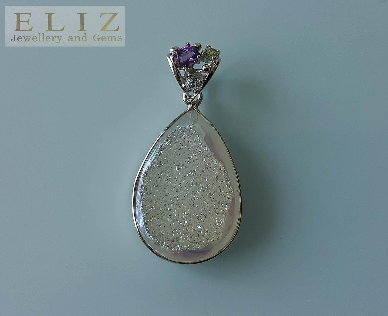 Pear Shape Blue Sparking Pendant 2.9x4.5 Fine Jewelry 20.83 Gm 925 Sterling Silver Pendant Jewelry Titanium Druzy Gemstone Pendant