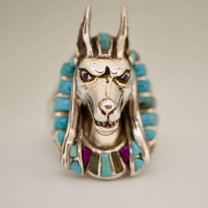 Anubis Ring 925 Sterling Silver Natural Turquoise Amethyst Mother of Pearl Egyptian God Anabis Exclusive Handmade Design