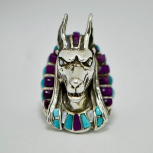 ANUBIS Ring Sterling Silver Egyptian God Anabis Natural Amethyst Turquoise Mother of Pearl Handmade Exclusive Design