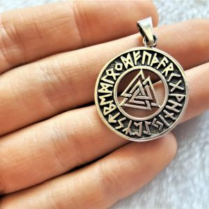 Valknut Knot Pendant 925 Sterling Silver Interlocking Triangles Norse Odin Runes Runic Viking Occult Talisman Protective Amulet
