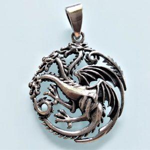 Dragon Pendant Sterling Silver 925 House Targaryen Game of Thrones Three-headed dragon