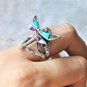 Dragon Fly 925 Sterling Silver Natural Turquoise Hawolite and Mother of Pearl Ring Handmade Exclusive Design Gift