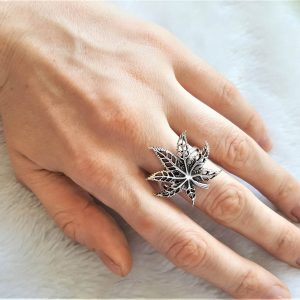 925 Sterling Silver Ring Cannabis Sativa Marijuana Leaf Weed 420 Pot Unisex