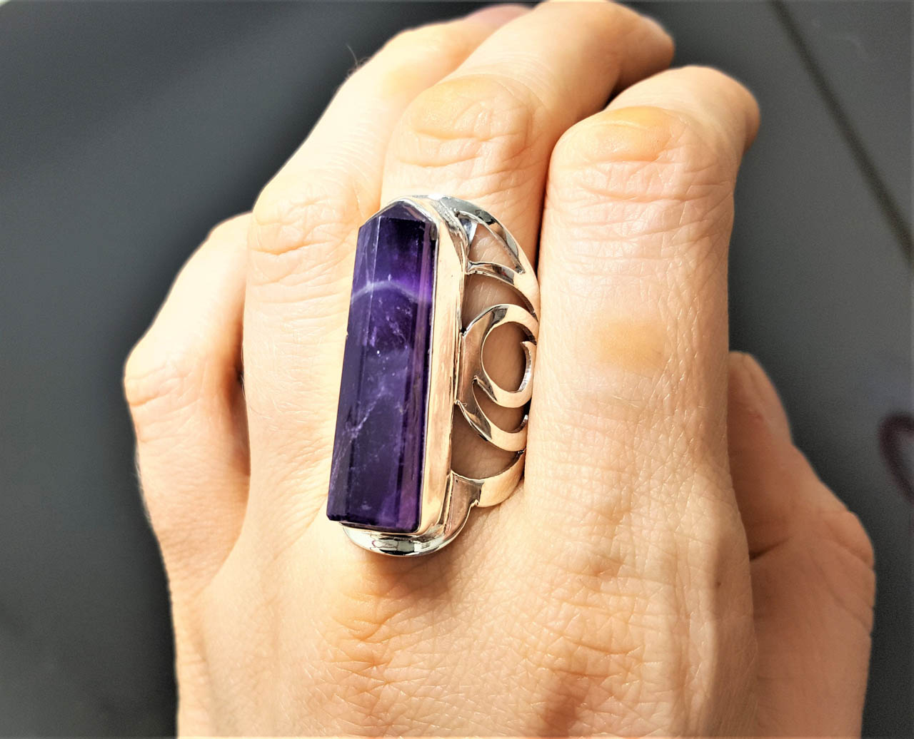 Natural Brazilian grade AAA amethyst set on a high quality silver ring