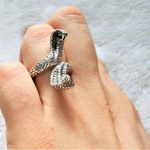 Cobra Ring STERLING SILVER 925 Cobra Snake Two Heads Sacred Symbol of Wisdom Handmade Talisman Amulet