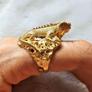 Iguana Lizard Ring STERLING SILVER 925 Unique Design 22 K Gold Plated Handmade Adjustable Size
