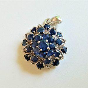 Sterling Silver 925 SAPPHIRE Flower Pendant Genuine Precious RARE UNTREATED Sapphire Talisman Exclusive Gift Kanchanaburi Sapphire