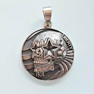 Skull Pendnat STERLING SILVER 925 Liberty Coin 1938 Biker Rocker Exclusive Design Heavy 19 grams
