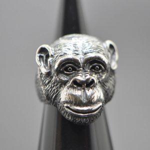 Chimpanzee Ring 925 Sterling Silver Chimp Monkey