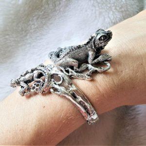 Iguana Lizard Bracelet STERLING SILVER 925 Exclusive Design Handmade Free Size Adjustable Heavy 52 grams