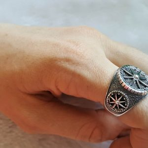 Nautical Compass 925 Sterling Silver Sun Dial North/South East/West Talisman Amulet Star Ring