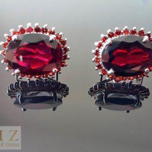 Genuine Garnet Sterling Silver 925 Earrings Excluisve Gemstones Very Rare Large Size Gift for her