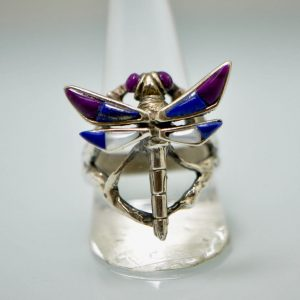 Dragon Fly Ring STERLING SILVER 925Natural Lapis, Purple Howlite, Mother of Pearl Dragon Fly Ring