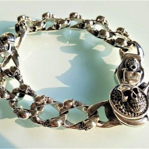Skull Bracelet STERLING SILVER 925 Brutal Motor Cycle Biker Rocker Punk 8.5 inches 99 grams