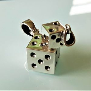 Dice Pendant STERLING SILVER 925 Gambling Dice Gamblers Craps Good Luck Game Play Lucky Winner Talisman Gift Big or Small