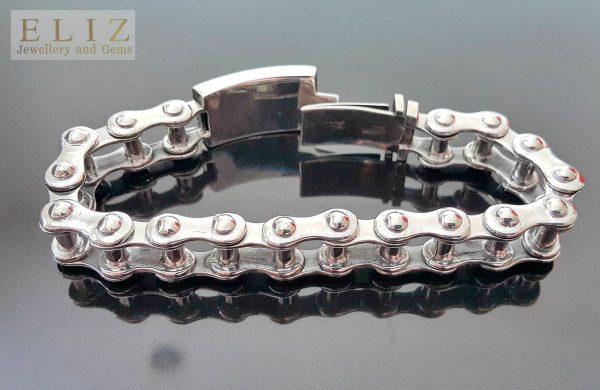 Biker Bracelet STERLING SILVER 925 Motorbike Motorcycle Chain Link Bracelet Biker Rock 9 inches