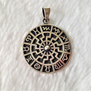 Black Sun Pendant 925 Sterling Silver Occult Talisman Horoscope Zodiac Astrology Protective Amulet
