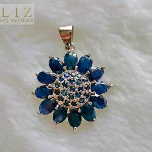 Sterling Silver 925 Sapphire Sunflower Pendant Genuine Precious RARE UNTREATED Sapphire Sun Talisman Exclusive Gift