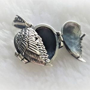 925 Sterling Silver Angel Wings Heart Locket Pendant Guardian Memorial Gift Talisman Protective Amulet