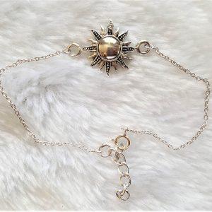 Sterling Silver .925 Sun Bracelet Celestial Divine Talisman Protective Amulet Sacred Symbol Divinity Sun God Adjustable 7-8.5 inch