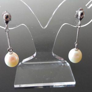 925 Sterling Silver Natural White Freshwater Pearl Long Stud Earrings Bridal