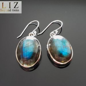 Sterling Silver 925 Genuine Labradorite Earrings Natural Gemstone