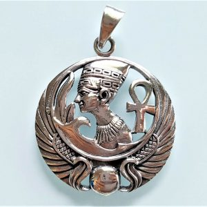925 Sterling Silver Pendant Nefertiti Egyptian Queen Great Royal Wife Pharaoh Egyptian Ankh Sacred Symbol Talisman Amulet