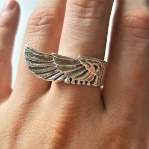 925 STERLING SILVER Biker Eagle Wing Ring ANGEL Wing Biker Rocker Gothic