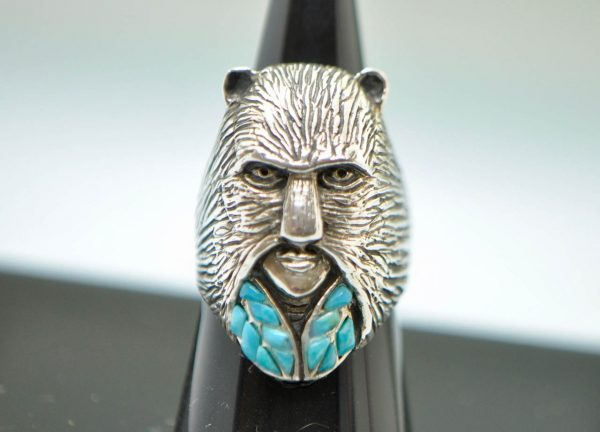 Animal Mask Ring STERLING SILVER 925 Natural Turquoise Cat Mask Exclusive Unique Design
