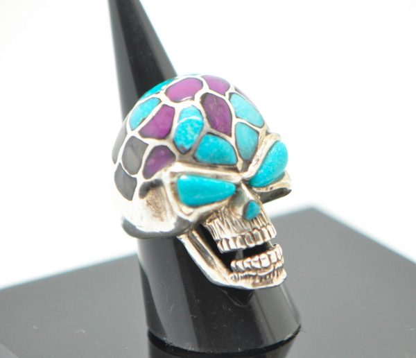 Skull Ring STERLING SILVER 925 Biker Rocker Goth Natural Turquoise, Purple Howlite Natural Gesmtones