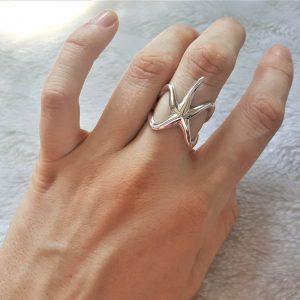 Starfish Ring STERLING SILVER 925 Ocean Star Sea Nautical Talisman Gift