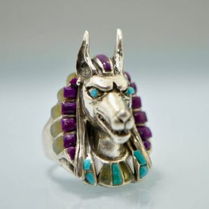 Anabus Ring STERLING SILVER 925 Natural Turquoise, Purple Howlite, Yellow Opal, Mother of Pearl Egyptian God