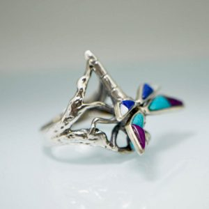 Dragon Fly Ring STERLING SILVER 925 Natural Turquoise Purple Howlite Lapis Mother of Pearl