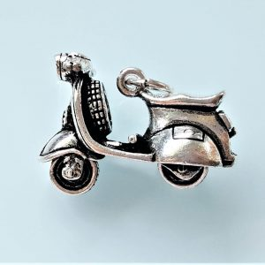 Vespa Pendant STERLING SILVER 925 Scooter Classic Vespa Spinning Tires Cute Gift