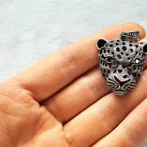 STERLING SILVER 925 Panther Pendant Jaguar Cubic Zirconia Black Eyes Cat Animal