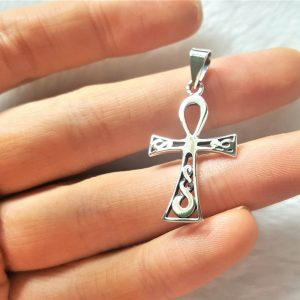 925 Sterling Silver Egyptian Ankh Cross Pendant Key of Life Cross Celtic Talisman Amulet